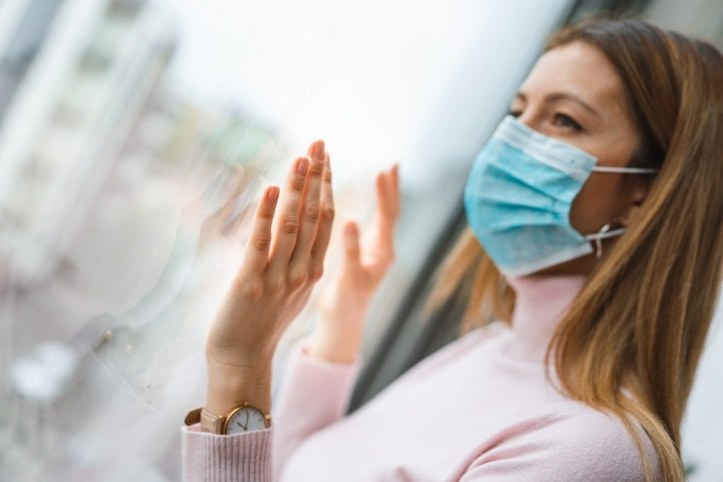 Woman wearing surgical mask for corona virus